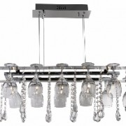 Vino 10 light decorative pendant - chrome  and  crystal buttons/pear-drops  and  wine glass trim