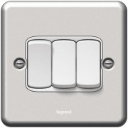 Synergy Legrand Metalclad grey epoxy 3-gang switch