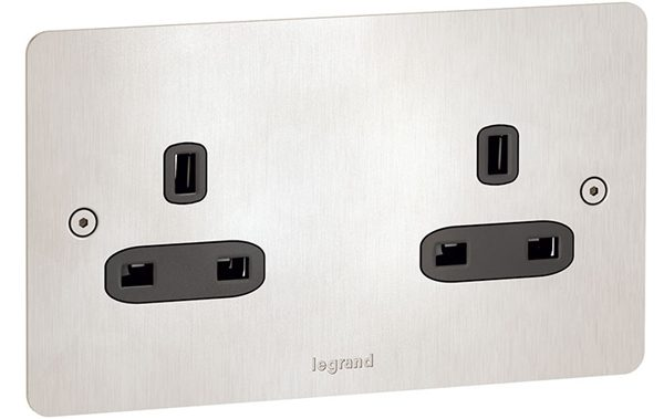 Synergy Legrand Flat brushed stainless steel sockets